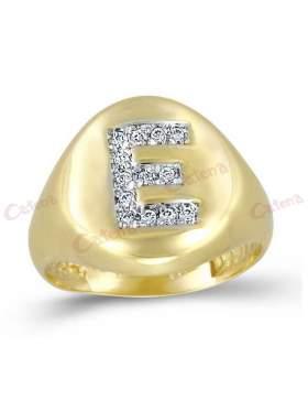 Δακτυλίδι χρυσό με ζιργκόν άσπρες πέτρες σχέδιο μονόγραμμα Ε