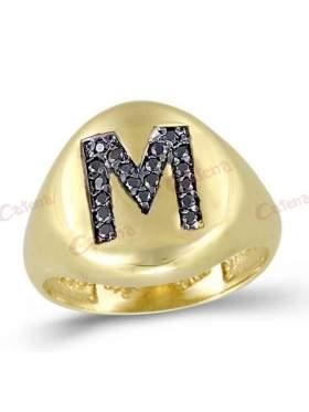 Δακτυλίδι χρυσό με ζιργκόν με μαύρες πέτρες και σχέδιο μονόγραμμα Μ