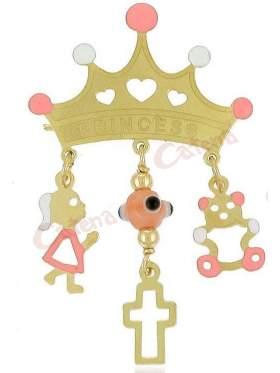 Φυλακτό χρυσό με παραμάνα σε σχέδιο κορώνα με διάφορα κρεμαστά στοιχεία και σμάλτο