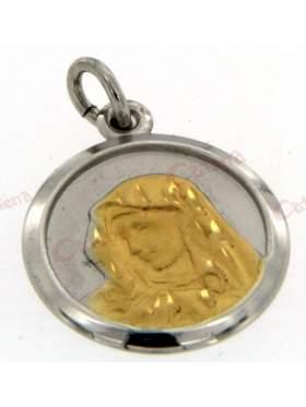 Φυλαχτό χωρίς παραμάνα, με χρυσή Παναγία, δίχρωμο
