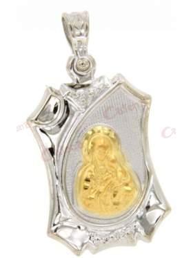 Χρυσό φυλακτό με παναγία και χριστό διπλής όψεως με ματάκι και πλακάκι στην πίσω πλευρά