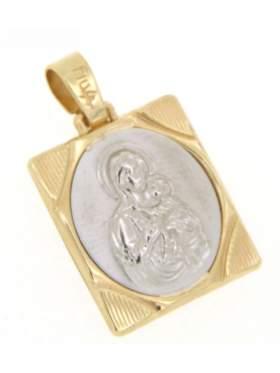 Φυλακτό χρυσό με την Παναγία διπλής όψεως πίσω πλευρά Ιησούς Χριστός νικά