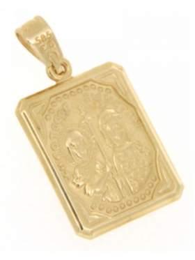 Φυλακτό χρυσό με Κωνσταντινάτο διπλής όψεως με πίσω πλευρά Ιησούς Χριστός Νικά