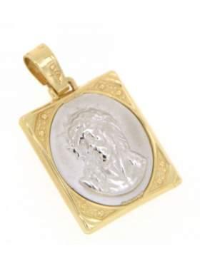 Φυλακτό χρυσό με κεφαλή Χριστού διπλής όψεως με πίσω πλευρά Ιησούς Χριστός Νικά