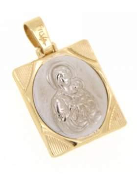 Φυλακτό χρυσό με κεφαλή Παναγίας διπλής όψεως με πίσω πλευρά Ιησούς Χριστός Νικά