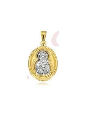 Φυλακτό χρυσό με λευκόχρυση παναγία με το χριστό χωρίς παραμάνα διπλής όψεως με κωνσταντινάτο στην πίσω πλευρά