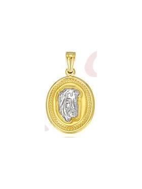 Φυλακτό χρυσό και λευκόχρυση κεφαλή χριστού στο κέντρο χωρίς παραμάνα διπλής όψεως με κωνσταντινάτο στην πίσω πλευρά