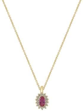 Χρυσό κολιέ καράτια 14 με άσπρες πέτρες ζιργκόν και κόκκινη σε σχέδιο ροζέτα στο κέντρο