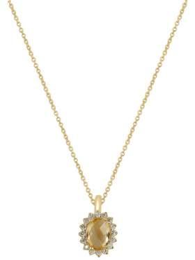Χρυσό κολιέ καράτια 14 με άσπρες πέτρες ζιργκόν και κίτρινη σιτρίν ορυκτή σε σχέδιο ροζέτα στο κέντρο