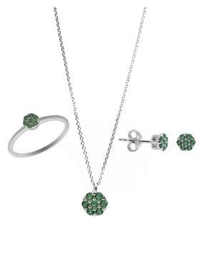 Set λευκόχρυσο με πράσινες πέτρες ζιρκόν καράτια 14