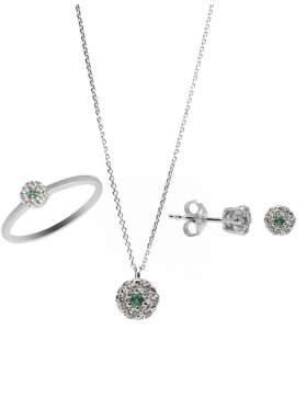Set λευκόχρυσο με πράσινες και άσπρες πέτρες ζιρκόν καράτια 14