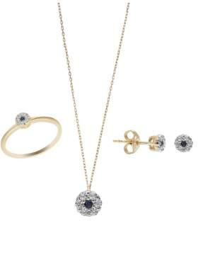 Set σε κίτρινο χρυσό με μαύρες πέτρες ζιρκόν και άσπρες