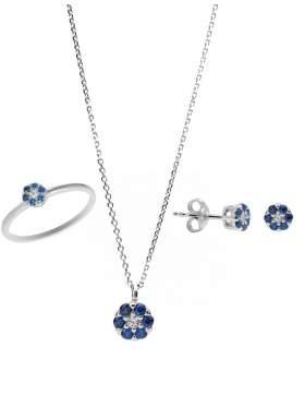 Set λευκόχρυσο με μπλε και άσπρες πέτρες ζιρκόν καράτια 14