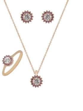 Set κίτρινο χρυσό με άσπρες πέτρες ζιρκόν και αμέθυστο καράτια 14 σε σχέδιο ροζέτα