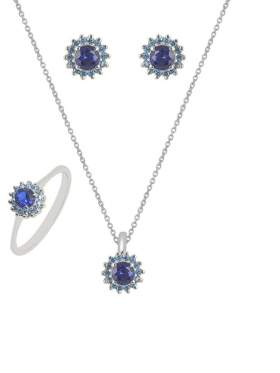 Set λευκόχρυσο με μπλε πέτρες ζιρκόν και γαλάζιες καράτια 14 σε σχέδιο ροζέτα