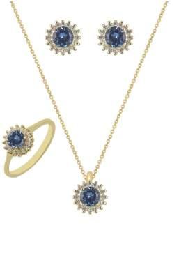 Set κίτρινο χρυσό με άσπρες πέτρες ζιρκόν και μπλε καράτια 14 σε σχέδιο ροζέτα