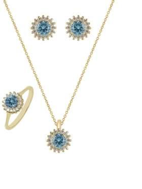 Set κίτρινο χρυσό με άσπρες πέτρες ζιρκόν και γαλάζιες καράτια 14 σε σχέδιο ροζέτα