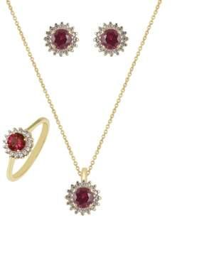 Set σε κίτρινο χρυσό με άσπρες πέτρες ζιρκόν και κόκκινες στο κέντρο σε σχέδιο ροζέτα