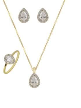 Set κίτρινο χρυσό με άσπρες πέτρες ζιρκόν καράτια 14 σε σχέδιο πουάρ
