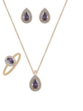 Set ροζ χρυσό με άσπρες πέτρες ζιρκόν και αμέθυστο καράτια 14 σε σχέδιο πουάρ σταγόνα