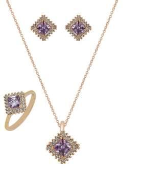 Set ροζ χρυσό με άσπρες πέτρες ζιρκόν και αμέθυστο καράτια 14 σε σχέδιο ροζέτα τετράγωνη