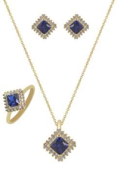 Set κίτρινο χρυσό με άσπρες πέτρες ζιρκόν και μπλε καράτια 14 σε σχέδιο ροζέτα τετράγωνη
