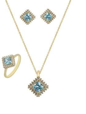 Set κίτρινο χρυσό με άσπρες πέτρες ζιρκόν και γαλάζιες καράτια 14 σε σχέδιο ροζέτα τετράγωνη