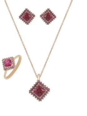 Set κίτρινο χρυσό με αμέθυστο πέτρες ζιρκόν και κόκκινες καράτια 14 σε σχέδιο ροζέτα τετράγωνη