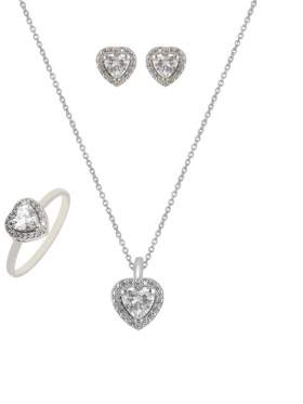 Set λευκόχρυσο με άσπρες πέτρες ζιρκόν καράτια 14 σε σχέδιο καρδιά