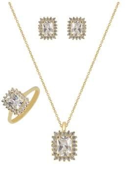 Set κίτρινο χρυσό με άσπρες πέτρες ζιρκόν καράτια 14 σε σχέδιο ροζέτα ορθογώνια