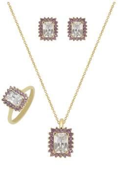 Set κίτρινο χρυσό με άσπρες πέτρες ζιρκόν και αμέθυστο καράτια 14 σε σχέδιο ροζέτα ορθογώνια