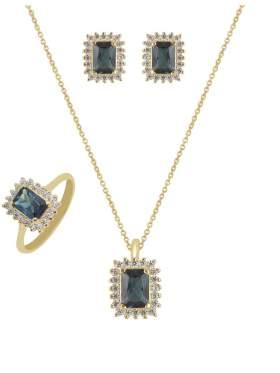 Set κίτρινο χρυσό με άσπρες πέτρες ζιρκόν και μπλε καράτια 14 σε σχέδιο ροζέτα ορθογώνια