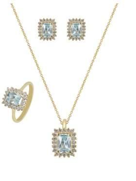 Set κίτρινο χρυσό με άσπρες πέτρες ζιρκόν και γαλάζια καράτια 14 σε σχέδιο ροζέτα ορθογώνια