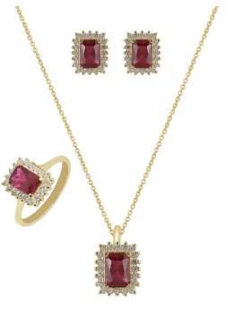 Set κίτρινο χρυσό με άσπρες πέτρες ζιρκόν και κόκκινες καράτια 14 σε σχέδιο ροζέτα ορθογώνια