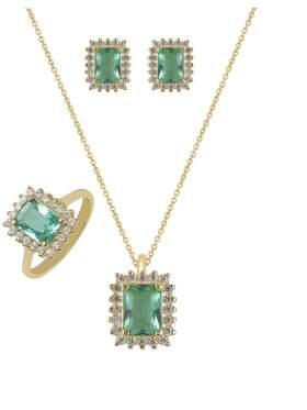 Set κίτρινο χρυσό με άσπρες πέτρες ζιρκόν και πράσινες καράτια 14 σε σχέδιο ροζέτα Paraiba Green Zircon
