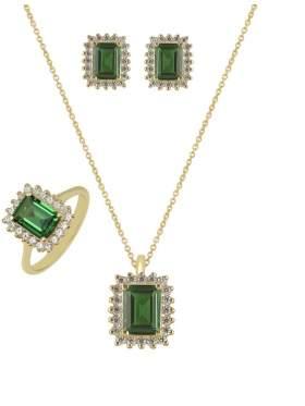 Set κίτρινο χρυσό με άσπρες πέτρες ζιρκόν και πράσινες καράτια 14 σε σχέδιο ροζέτα