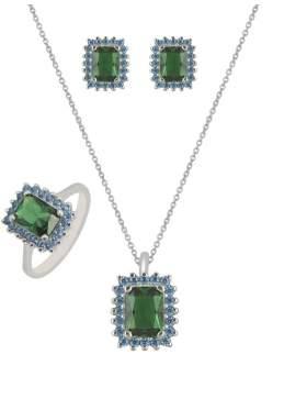 Set λευκόχρυσο με γαλάζιες πέτρες ζιρκόν και πράσινες καράτια 14 σε σχέδιο ροζέτα