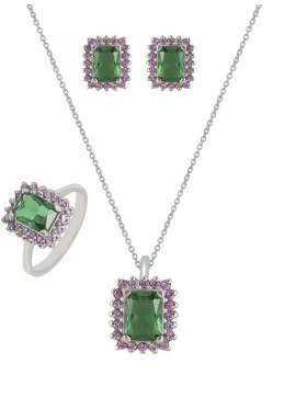 Set λευκόχρυσο με ροζ πέτρες ζιρκόν και πράσινες καράτια 14 σε σχέδιο ροζέτα