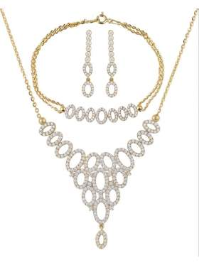 Set κίτρινο χρυσό με άσπρες πέτρες ζιρκόν καράτια 14 σε σχέδιο ροζέτα