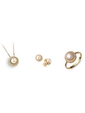 Σετ χρυσό με άσπρες πέτρες ζιργκόν και μαργαριτάρια περιλαμβάνει αλυσίδα μενταγιόν σκουλαρίκια και δακτυλίδι