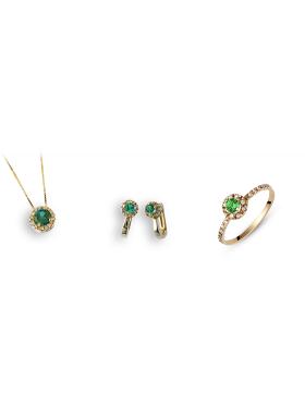 Σετ χρυσό με άσπρες πέτρες ζιργκόν και πράσινες περιλαμβάνει αλυσίδα μενταγιόν σκουλαρίκια και δακτυλίδι