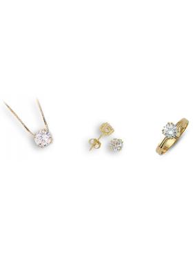 Σετ χρυσό με άσπρες πέτρες ζιργκόν περιλαμβάνει αλυσίδα μενταγιόν σκουλαρίκια και δακτυλίδι