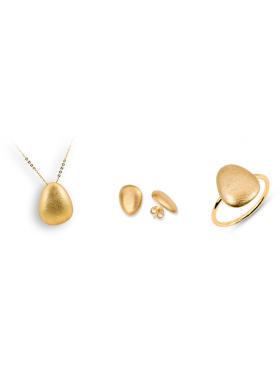 Σετ χρυσό περιλαμβάνει αλυσίδα μενταγιόν σκουλαρίκια και δακτυλίδι