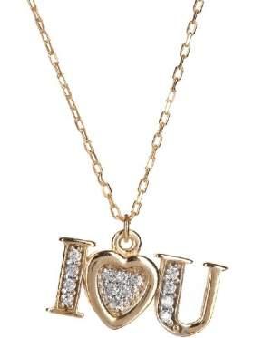 Μενταγιόν σε ροζ χρυσό με αλυσίδα με άσπρες ζιργκόν σε σχέδιο καρδιά με την λέξη Σ'αγαπώ στα αγγλικά