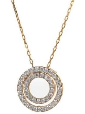 Μενταγιόν σε ροζ χρυσό με αλυσίδα με άσπρες ζιργκόν σε σχέδιο διπλό κύκλο