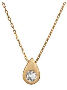 Μενταγιόν σε ροζ χρυσό με αλυσίδα με άσπρη πέτρα ζιργκόν σε σχέδιο σταγόνα