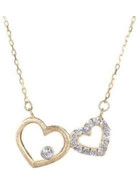 Μενταγιόν σε ροζ χρυσό με αλυσίδα με άσπρες πέτρες ζιργκόν σε σχέδιο διπλή καρδιά