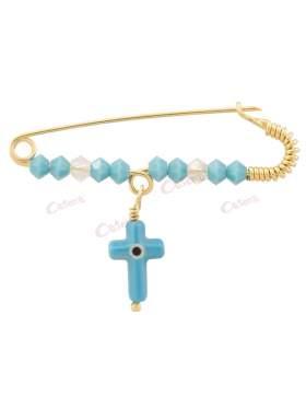 Παραμάνα χρυσή για νεογέννητο αγοράκι, σχέδιο σταυρό με μάτι με τυρκουάζ και άσπρες πέτρες