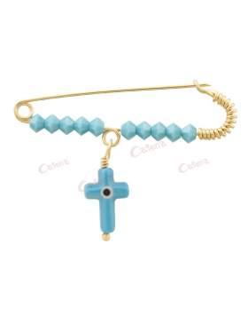 Παραμάνα χρυσή για νεογέννητο αγοράκι, σχέδιο σταυρός με μάτι με τυρκουάζ πέτρες
