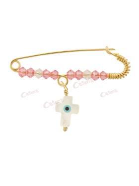 Παραμάνα χρυσή για νεογέννητο κοριτσάκι, σχέδιο σταυρός με μάτι με άσπρες και ροζ πέτρες